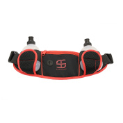 Dual Water Bottle Waist Pack (with Audio Slot) black/ Red, Adjustable