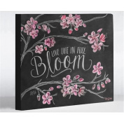 One Bella Casa 73416WD8 20cm x 25cm . Live Life in Full Bloom Canvas Wall Decor by Lily & Val, Grey & White