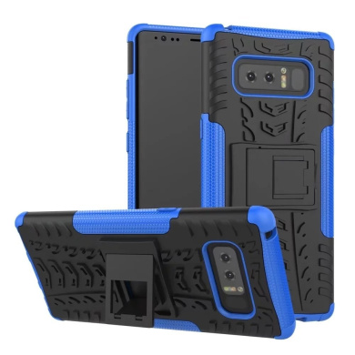 Galaxy Note 8 Case,ARSUE Hard Silicone Rubber Hybrid Armour Shockproof Protective Case Cover with Kickstand for Samsung Galaxy Note 8 (2017) - Blue
