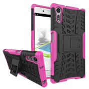 Xperia XZ / XZs Case,ARSUE Hard Silicone Rubber Hybrid Armour Shockproof Protective Case Cover with Kickstand for Sony Xperia XZs / XZ - Hot Pink