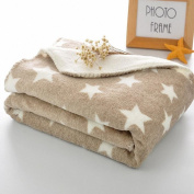 DANGTOP 100% Polyester Flannel Blanket with Star Pattern Super Soft Warm Multi Colour(Camel,80cm x 100cm ) for Baby & Toddler