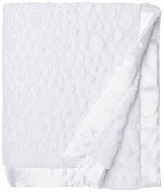 My Blankee Luxe Stone Throw Blanket with Flat Satin Border, White, 150cm X85""