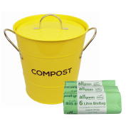 Yellow Metal Kitchen Compost Caddy & 150x All-Green Biobags - Composting Bin for Food Waste Recycling