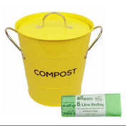 Yellow Metal Kitchen Compost Caddy & 50x All-Green Biobags - Composting Bin for Food Waste Recycling