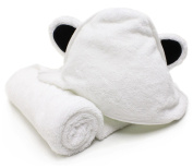 Bamboo Hooded Towel with Bear Ears by Bodacious Bambino | 80cm x 80cm Newborn Towel | Super Soft Absorbent Baby Towel | For Sensitive Skin