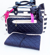 Betsey Johnson Quilted Striped Weekender Duffle Nappy Tote Bag