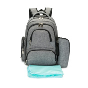 Homespon Baby Nappy Bag Mom Bag Waterproof Travel Backpack Nappy Bags for Baby with Changing Pad and Stroller Straps,Grey