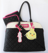 Betsey Johnson Dome Bone/Black Quilted Nappy Tote Bag