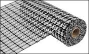 25cm x 9.1m Deco Poly Mesh Ribbon - Basketweave Black and White : RE1356FF