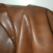 """Antiqued Cognac Tan Vegan Faux Leather Synthetic Pleather 0.9 mm Madison 1/2 yard 18-20 inch wide x 54 inch length Soft smooth vinyl Upholstery Half Yard (18"""" x 54"""")"""