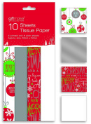 10 Sheets of Christmas Xmas Gift Wrap Tissue Paper Red White Silver & Bauble Designs