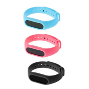 MagiDeal 3Pieces Silicone Sport Wrist Band Straps w/ Metal Buckle Replacement For Xiaomi Mi Band 2 Bracelet