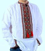 Vyshyvanka mens Ukrainian embroidered white shirt Bukovina Handmade linen Slavic wedding size 4XL