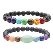 JSDDE 7 Chakra Lava Stone Diffuser Bracelet for Aromatherapy Essential Oil Yoga Meditation Reiki Healing Crystals Gemstone Bead Bracelets