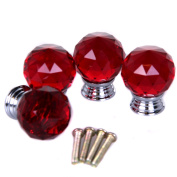 4x Red Crystal Glass Acryl Door Drawer Cabinet Furniture Handles Knobs +screws~~