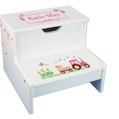 Personalised White Step Stool and Storage with Pink Tractor Design