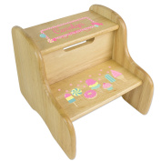 Personalised Natural Two Step Stool with Sweet Treats Candy Design