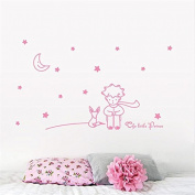 The Little Prince Fox Star Moon Wall Sticker Kids Baby Nursery Room Decor Child Gift Vinyl Decal 8518. Decoration Mural Art,Pink