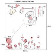 [Rabbit] Pink Cartoon Cat Rabbit Flower Wall Sticker For Baby Girls Kids Rooms Home Decor Teddy Bear Umbrella Classroom Wall Decals