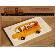 Lulujan Wooden Multilayer Jigsaw Puzzle Kid Education Toys Storyboard Gift - School Bus & Customers