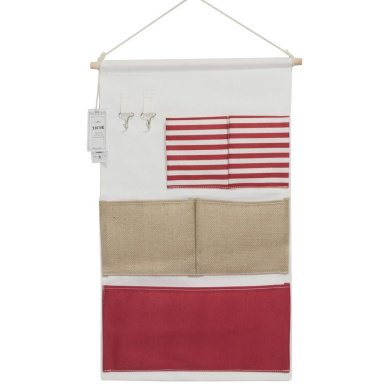 YOUOR Linen Cotton Fabric Wall Hanging Storage Bag 5 Pockets Over the Door Organisers Magazine Organiser with 2 Hooks (Red)