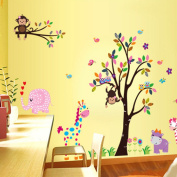 Uniquebella Wall Stickers Giraffe Monkey Animal Park Kindergarten Children Bedroom Decoration Stickers 60X90cm