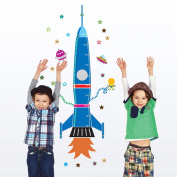 Uniquebella Rocket Lift off Nursery Decor Growth Charts Kids' Room Decor PVC Removable 60x90cm