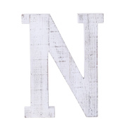 "Adeco Wooden Hanging Wall Letters ""N"" - White Decorative Wall Letter of Living Room, Baby Name and Bedroom Décor, Whitewash"