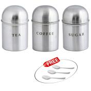 "Kosma Stainless Steel Set of 3 Tea Sugar Coffee Storage Canister Set   Kitchen Storage Jar Set with Dome Lid & ""FREE"" Stainless Steel 3pc Tea/Coffee/Sugar Spoon"