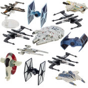Star Wars (12 Pack) Hot Wheels Spaceship Models Toys Set Figures & Stands Mattel