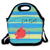 Black I'M FINE Funny Zombie Slash Lunch Bag For Man And Woman