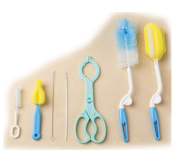 HiCat 7-in-1 Baby Bottle Brush Cleaning Kit, Great for Baby Bottles, Drinking Straws, Nipples and More, Safety Bottle Holder, Multi-Functional Non-Slip Nursing Hot Bottle Nipple Tong, Clamp