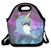 QIFAN Fancy Narwhal Lunch Bags Lunch Tote Lunch Box Handbag For Kids And Adults