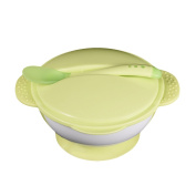 Pueri Baby Silicone Bowl Set Training Feeding Stay Put Suction Bowl with Lid and Spoon