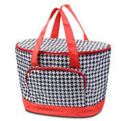 Zodaca Large Pinic Camping Cooler Bag, Black Houndstooth with Red Trim
