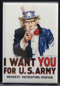 "U. S. Army ""I Want You"" Refrigerator Magnet. Uncle Sam WWII"