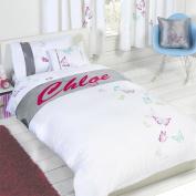 "Butterflies ""Chloe"" Childrens Girls Personalised Duvet Cover Quilt Bedding Set"