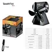 SFM : Stove Fan with Twin Fan for Self-Cooling, SmartFan Mini for Wood Burning Stoves 65 - 330 C, 130cfm