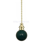 Bathroom Light Pull Chain – Polished Brass and Green Ball & Brass Chain A17