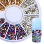 CoulorButtons 1 Box Muti-colour Irregular Ore Nail Studs Manicure 3D Nail Art Decoration Gold Silver DIY Materials