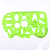 Home Mart Green Plastic Mathematics Metric Circle Triangle Oval Parallelogram Shapes Drawing Drafting Template Stencil