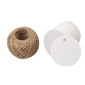 Kraft Paper Round Gift Tags,Gift Wrap Tags with String,Blank Hang Gift Tag,KINGLAKE 100 Pcs 5.5cm Wedding Craft Tags with 30m Natural Jute Twine