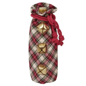 Mud Pie Christmas 30cm x 15cm Jingle Bell Tartan Wine Bag 4864066