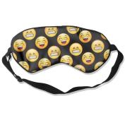Sleeping Eye Mask Cute Emoji Smile Natural Silk Eye Mask Cover With Adjustable Strap