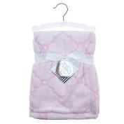 Baby Girl Quatrefoil 2 Tone Embossed Blanket