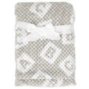 Baby Boy Grey and White Textured Blanket ABCs Reversible Blanket