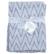 Baby Boy Blue Chevron Reversible Blanket 80cm X 100cm