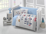 City Car Deluxe Crib Bedding Baby Quilt Set,100% Cotton 6 pcs Made in Turkey