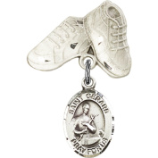 Sterling Silver Baby Badge with St. Gerard Charm and Baby Boots Pin 2.5cm X 1.6cm