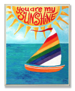 Stupell Home Décor You Are My Sunshine Rainbow Sailboat Rectangle Wall Plaque, 11 x 0.5 x 15, Proudly Made in USA
